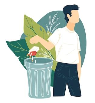 喫煙と悪い習慣をやめ、男性キャラクターがタバコのパックをゴミ箱に捨てます。健康的なライフスタイルと生物の健康の改善。中毒を止め、ニコチン、ベクターを克服する