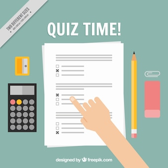 Quiz background with calculator and pencil