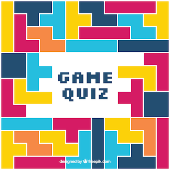 Quiz background with colorful geometric pieces