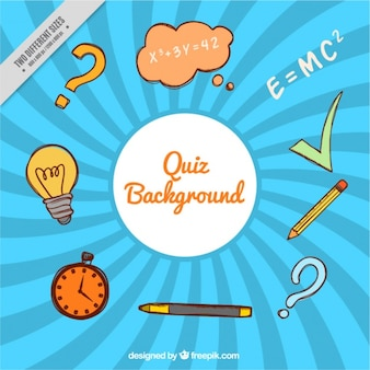 Quiz background with hand-drawn items