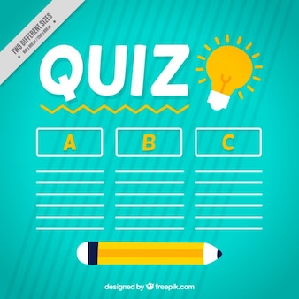 Quiz background with pencil and three options