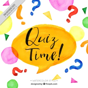 Quiz background with speech bubble in watercolor style