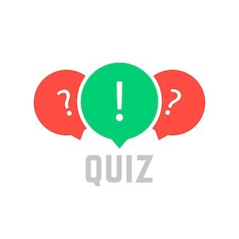 吹き出し付きのクイズボタン。よくある質問、対話、インタビュー、競争、クイズショー、クイズ、投票の概念。白い背景で隔離。フラットスタイルトレンドモダンクイズロゴデザインベクトルイラスト