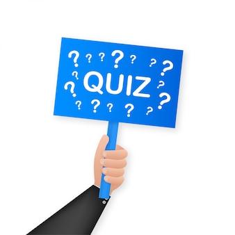 Quiz. мультфильм плакат с рукой, держащей плакат для. , рекламный щит. иллюстрация