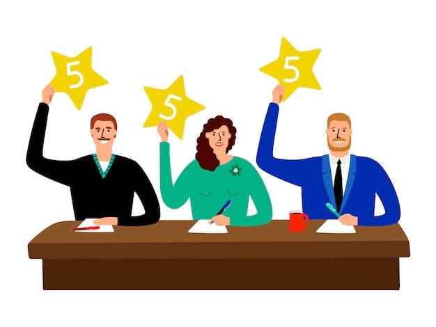 퀴즈 배심원. 경쟁 판사 그룹 테이블에 앉아 의견 점수 카드 그림을 보여