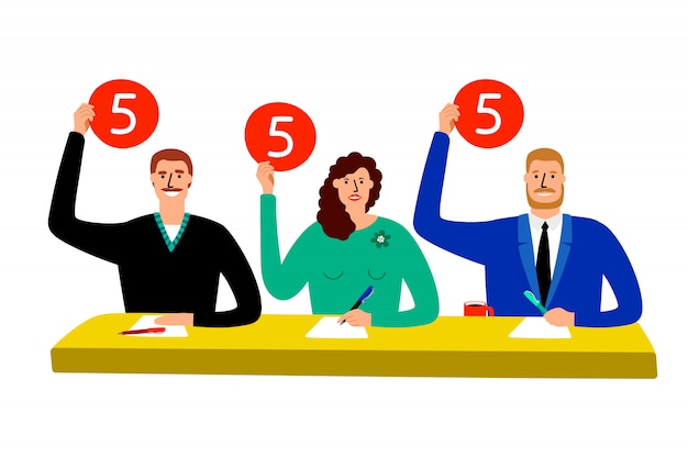 Quiz jury. competition judge group sitting at table, estimate and show opinion scorecards illustration
