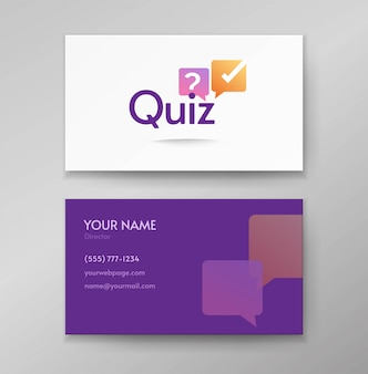 Quiz logo poll icon vector design or interview discussion logotype on business card template