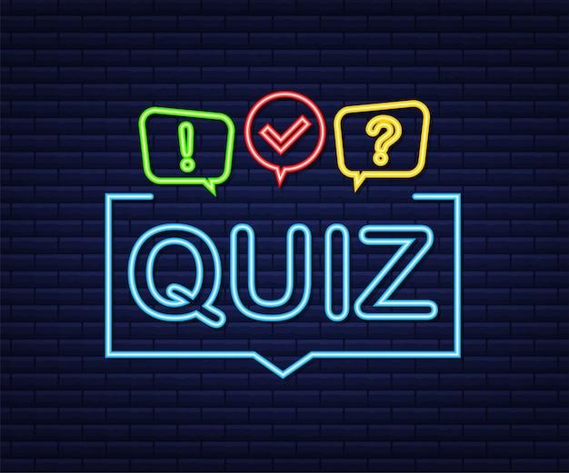 Логотип викторины с символами речевого пузыря, концепция анкетного шоу, кнопка викторины, вопрос о конкурсе. неоновая иконка. векторная иллюстрация штока.