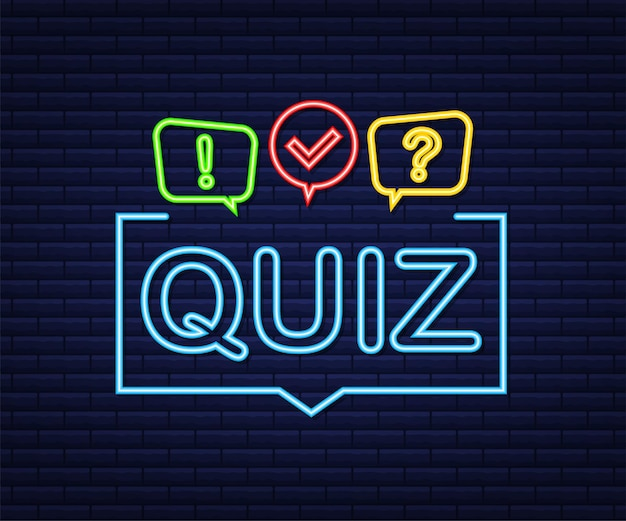 Quiz logo with speech bubble symbols, concept of questionnaire show sing, quiz button, question competition. neon icon. vector stock illustration.