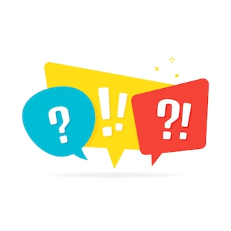 Quiz logo with speech bubble symbols. vector illustration isolated on white background.