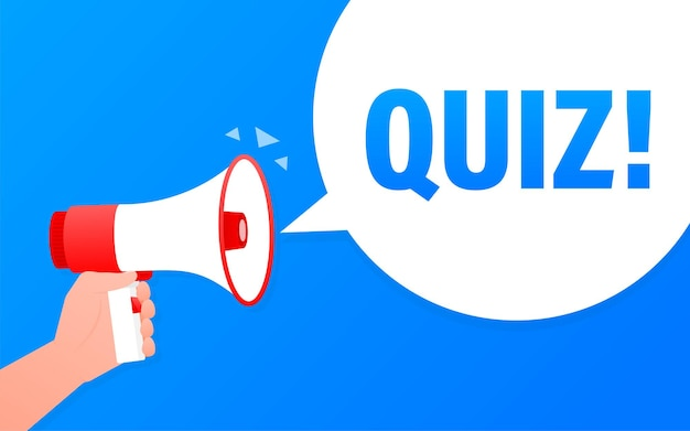 Quiz megaphone blue banner in flat style. loudspeacker.   illustration.
