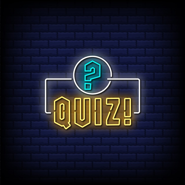 Quiz neon sign with exclamation and question mark