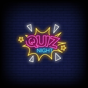 Quiz night neon signs style text