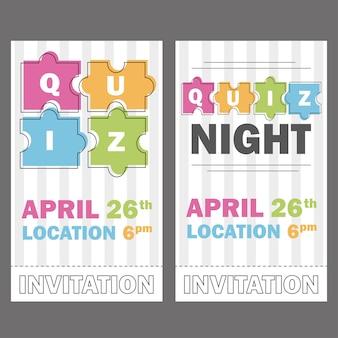 Quiz night thin line concept. vector illustration - puzzle colored pieces - voucher templates or invitation