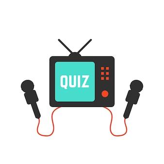 テレビアイコンのクイズ。勝利の概念、クイズプログラム、ダイアログ、クイズ、エンターテインメント、投票、勝利のラッフル、パネルゲーム、テレビ放送。フラットスタイルのトレンドモダンなロゴデザインベクトルイラスト白地に