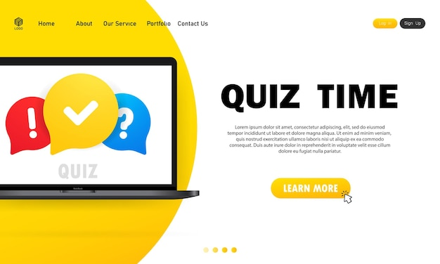 Quiz online on laptop. the concept is the question with the answer. quiz time.
