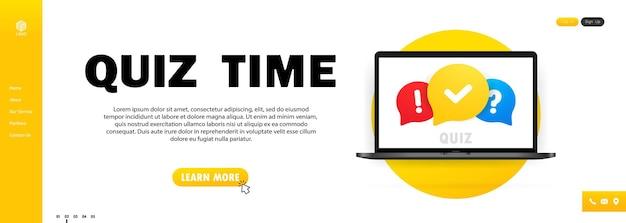 Викторина онлайн на ноутбуке. концепция - это вопрос с ответом. время викторины. векторная иллюстрация.