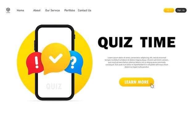スマートフォンでオンラインクイズ。コンセプトは答えのある質問です。クイズの時間。 webサイト。ベクトルイラスト。