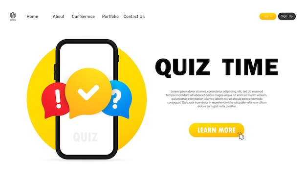 Quiz online on smartphone. the concept is the question with the answer. quiz time. website. vector illustration.