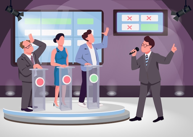 Quiz show flat color vector illustration. educational game host and contenders 2d cartoon characters with stage on background.