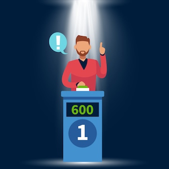Quiz show. standing man raise up hand, answer question and pushing button on tv game with podium and light concept