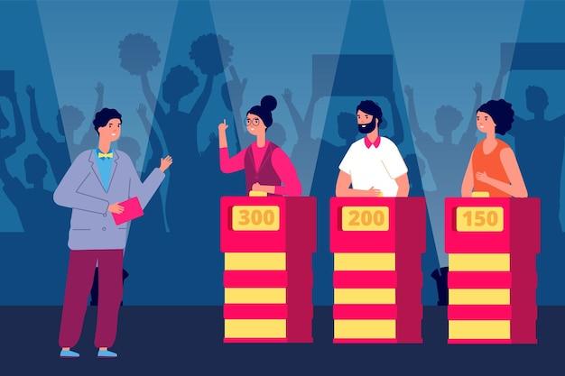 クイズショー。雑学クイズ、ショーマン、テレビゲームの参加者。フラット競争プログラムの勝者、質問テレビパズルベクトルイラスト。テレビコンテストクイズ番組、質問コンテスト