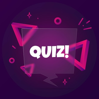 Quiz. speech bubble banner with quiz text. glassmorphism style. for business, marketing and advertising. vector on isolated background. eps 10.