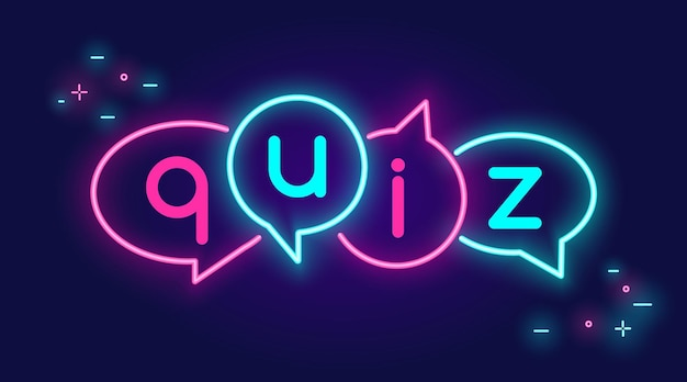 Quiz speech bubbles banner for social networks in neon light style on dark background bright vecto
