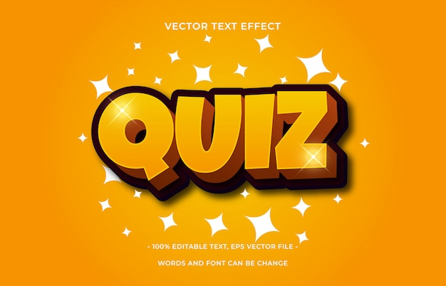Quiz text effect. editable font style