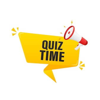 Quiz time megaphone on white background for flyer design. vector illustration in flat style.