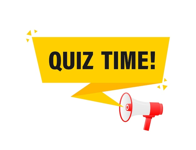 Quiz time megaphone yellow banner in 3d style    illustration.
