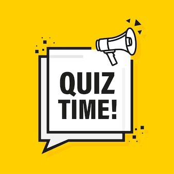 Quiz time megaphone yellow banner in flat style.   illustration.