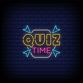 Quiz time neon sign style text