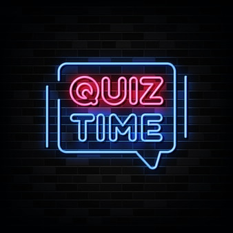 Quiz time neon signs on black wall