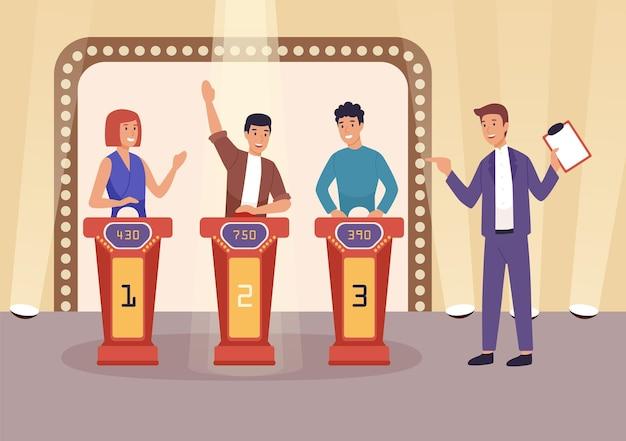 クイズテレビ番組フラットベクトルイラスト。人々はテレビゲーム番組をプレイし、質問に答え、パズルを解くキャラクターを漫画します。クリップボードをプレーヤーの近くに置いてホストを表示します。