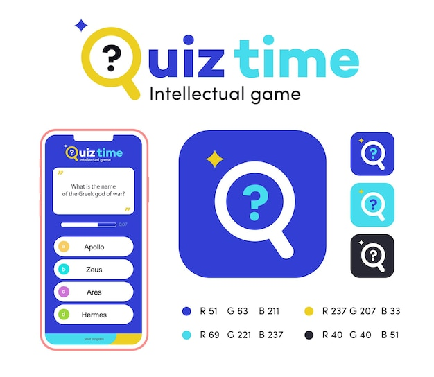 Quiz vector sign app template for competition exam smart show kids game interview quiz icon answer