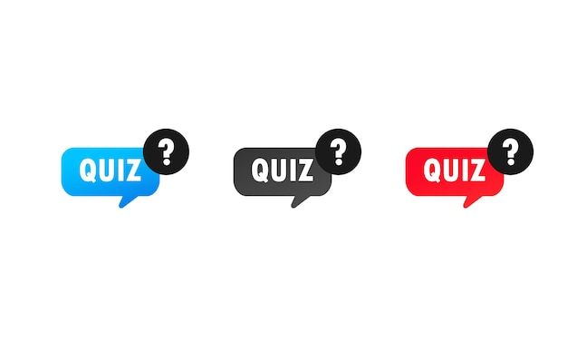 Quiz with question mark sign icon set or questions and answers game symbol