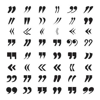 Кавычки. текстовый блок цитата мнение или идея цитирования коллекция векторных иконок