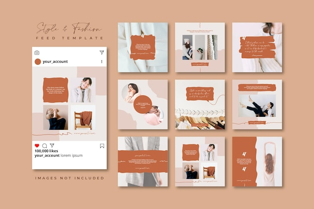 Quote beige spring fashion sale social media puzzle feed template
