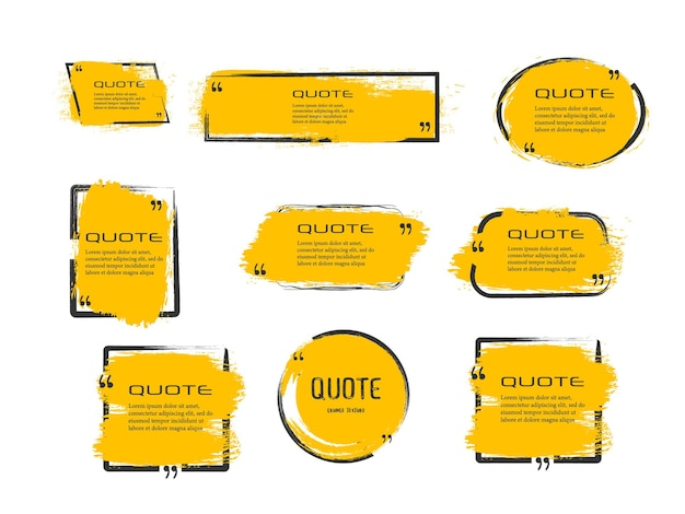Цитата рамка рамка большой набор цитата поле значок текстовые сообщения цитата коробки пустой гранж кисть фон вектор