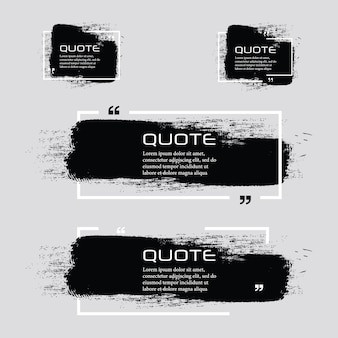 Quote box frame, big set. quote box icon. texting quote boxes. blank grunge brush background.
