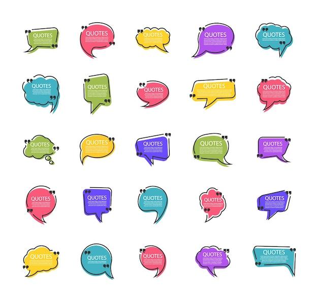 Рамка коробки цитаты набор шаблонов пузырей цитаты в плоском дизайне