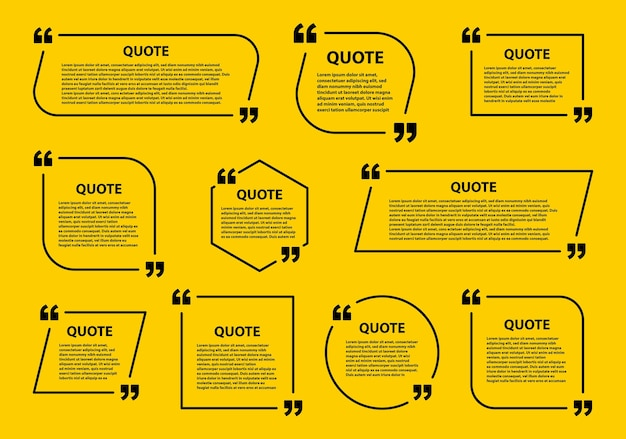 Quote box frame, speech bubbles templates and communication quote frames