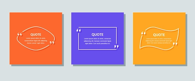 Quote box frames on backgrounds. template text quotations. vector color illustration.