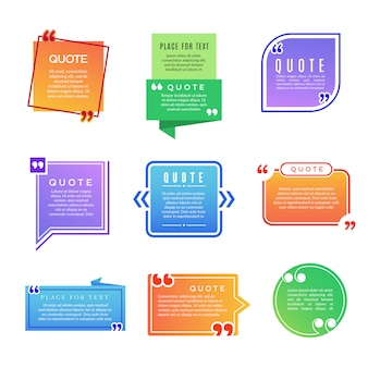 Quote boxes. paragraph marks comments shapes vector  template set