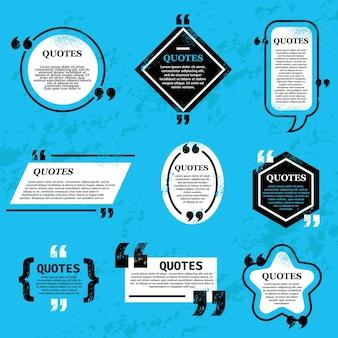 バブルとボックス、チャットメッセージ、コメント、メモの引用アイコンを引用します。テキストメッセージ、本の引用、新聞情報用の空白のテンプレートをベクトルします。青い背景のテキスト、引用符の境界線を設定するためのグランジフレーム