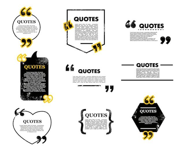 バブルとボックス、チャットメッセージ、コメント、メモの引用アイコンを引用します。テキストメッセージ用のベクターフレーム、テキスト情報用の空白のテンプレート。引用記号、逆コンマを使用した引用クリエイティブデザイン要素