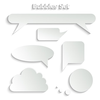 Quote, empty speech bubble with shadows effect set