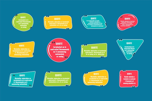 Цитируйте примечания кадра. макет для ссылок и цифровой информации. набор шаблонов рамки пустые цитаты. текст в скобках, цитируйте пустые пузыри речи, пузыри цитаты. изолированный шаблон. векторная иллюстрация.