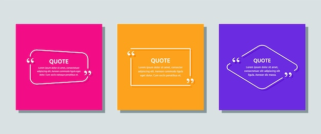 Quote frame template. quotations text box. info comments in textboxes on color background.